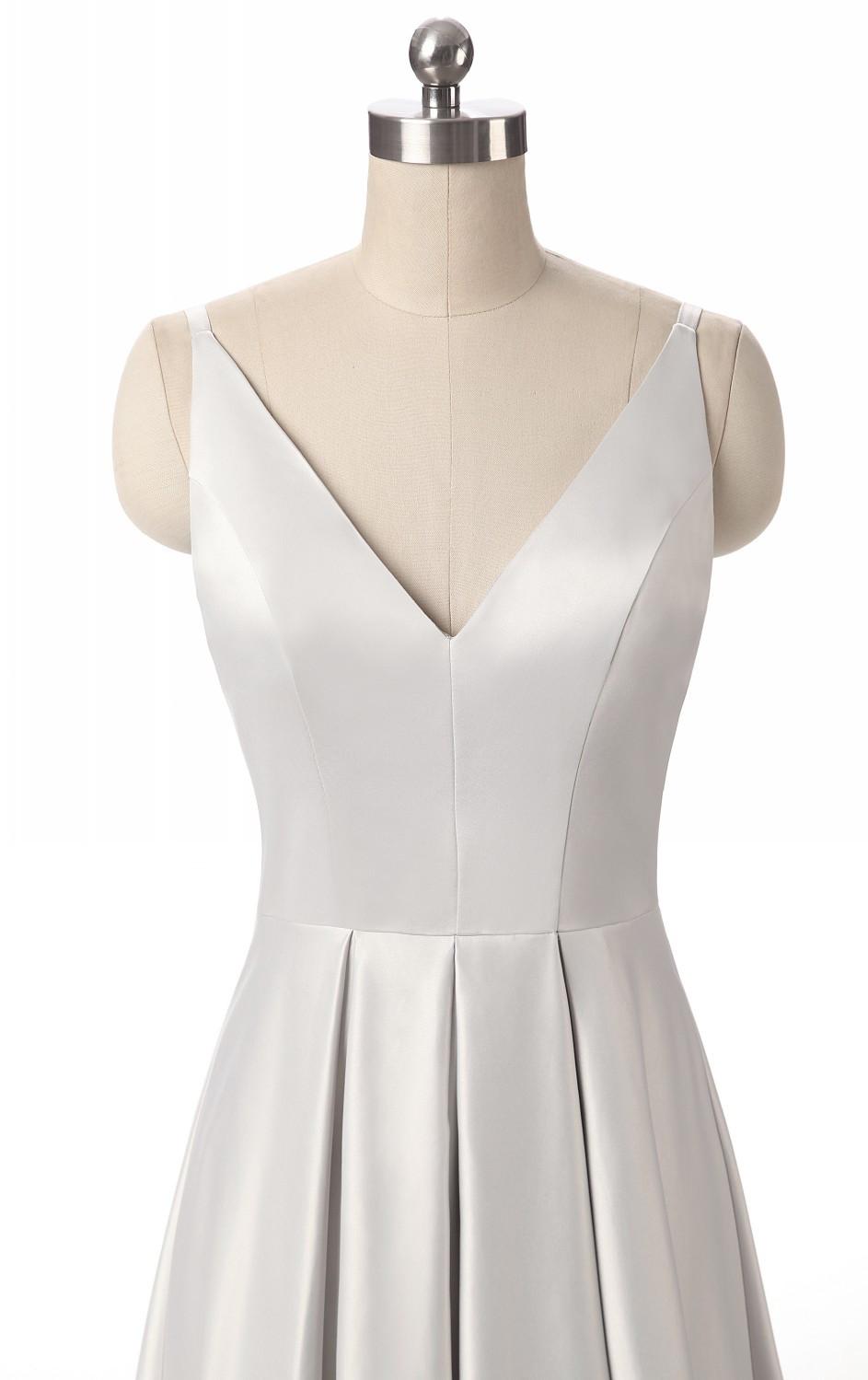 Elegant V-Neck Pleat Satin Long Evening Dress 7