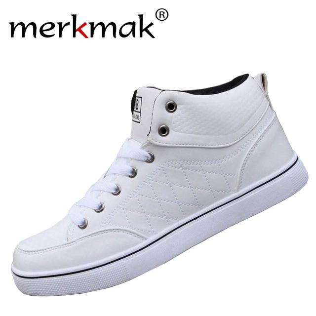 2016 de Lujo Más Nuevo de Marca Para Hombre de Los Zapatos Zapatos De Moda Las Botas Casual Otoño Invierno Botines Zapatos Negro Blanco Nuevo Estilo pisos