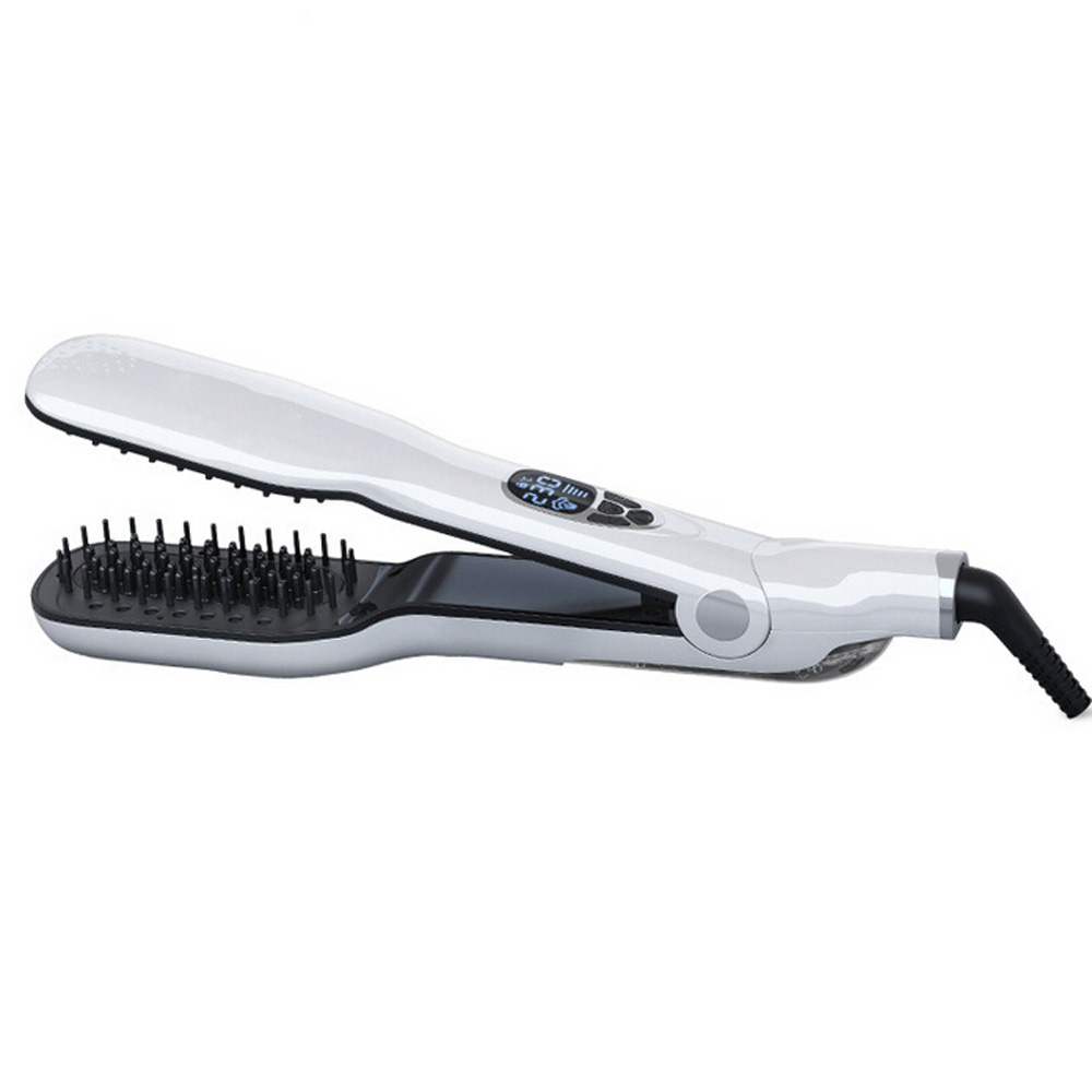 New Professional Steam Moisturizing Hair Straightener Brush With LCD Display Electric Ceramic Fast Comb Steam Hair Straightener 2017 new hot sale professional salon ptc heating white color ceramic negative ions steam automatic hair curler hair style tools