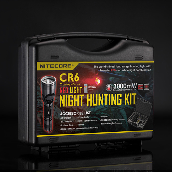 Wholesale NITECORE White+Red Light CREE XP-G2 LED CR6 HUNTING KIT Gear Hunting Law Enforcement Militar Flashlight Lantern BoxSet nitecore srt9 2150 lumens with red blue warning light cree xhp50 led gear hunting law enforcement military flashlight lantern