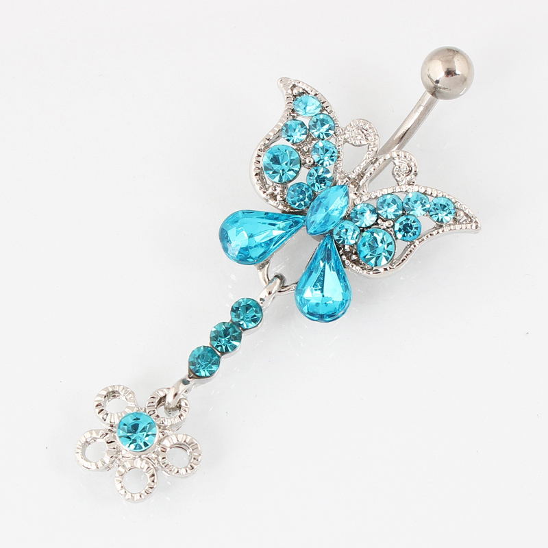 Rhinestone butterfly belly button ring Kvinne mote body piercing navle ring smykker Retail 14G 316L kirurgisk stål bar TAIERS
