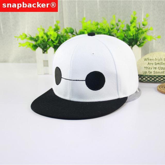 Big Hero 6 Brand Cool Snapbacks Hats Womens Mens Casual Black White Snapback  Cap Cute Snap Back Hat Baseball Caps Bone Aba Reta e725534482a