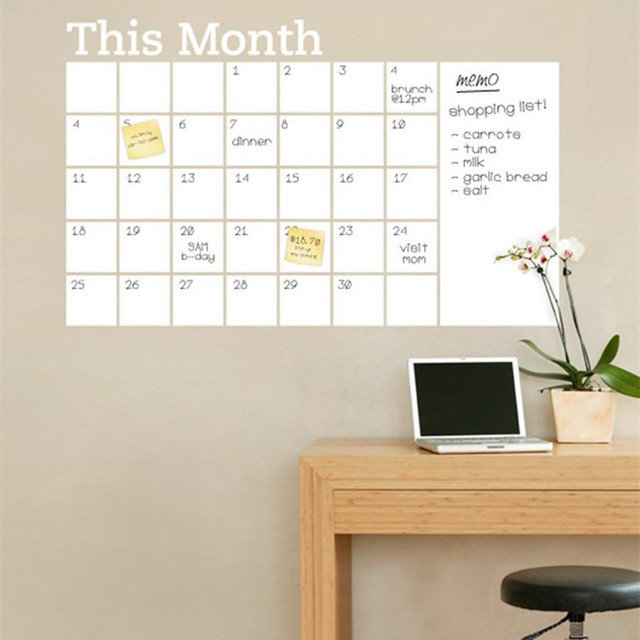 home office whiteboard. Erasable White Chalkboard Calendar Wallpaper Memo Pad Wall Stickers Home Office Must-have Removable PVC Whiteboard