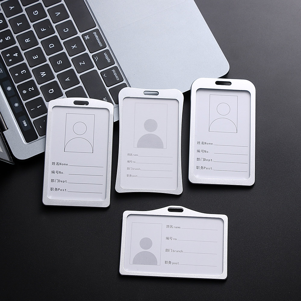 Hot Sale Aluminum Alloy Work Card Holders Business Work Card ID Badge Lanyard Holder Hot Vertical Metal Tag Office School Card