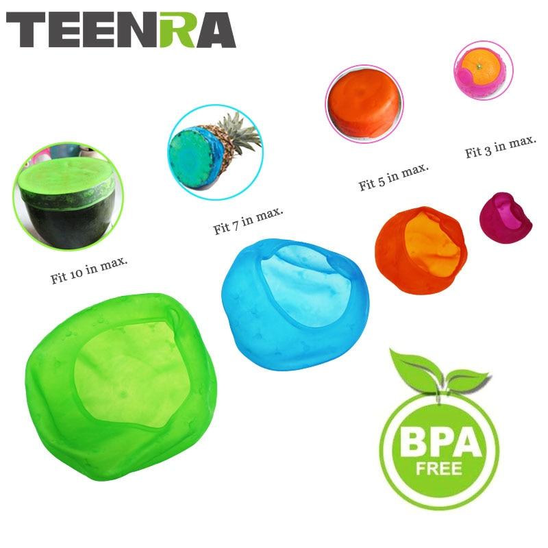 TEENRA 4Pcs silikon makanan vakum Sealer makanan penutup regangan sedutan periuk periuk silikon penutup mangkuk penutup silikon penutup silikon