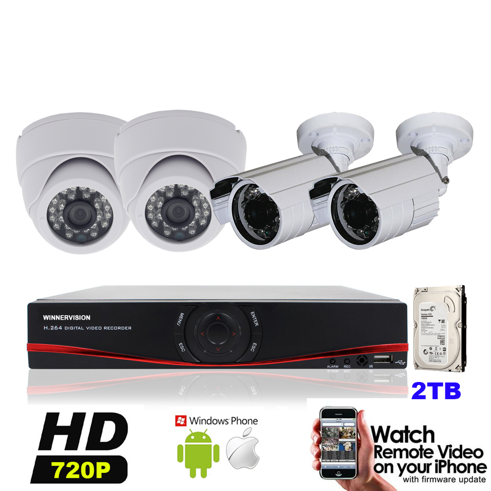 Built 2TB HDD 4pcs 1.0MP 720P Indoor Outdoor 1200TVL Security Camera HD 4CH AHD DVR Video System Kits Mobile Phone Surveillance