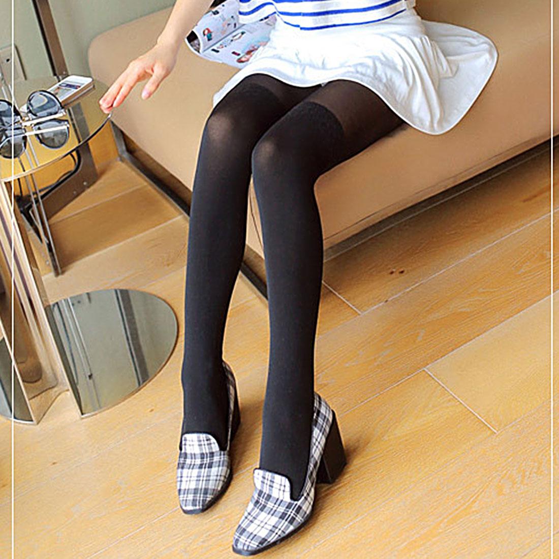 Harajuku Kawaii Fashion Black Stitching Lace Knee Stockings Patchwork Tattoo Tights Women Girls Sheer Footed