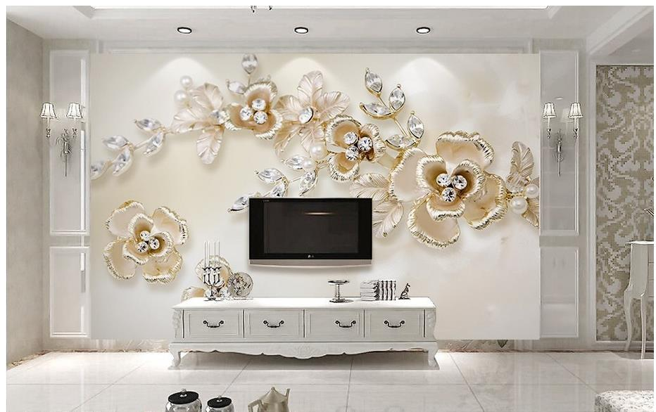 Home decoration 3d stereoscopic wallpaper pearl flowers 3d for 3d wallpaper home decoration