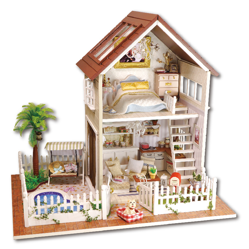 Cheap Doll Houses With Furniture In Home Decoration Crafts Diy Doll House Wooden Houses Miniature Dollhouse Furniture Kit Room Led Gifts New Brand Unisex