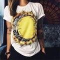 2016 Novas Mulheres de Verão T-shirt Frouxo Impressão Grafite Topo Camisetas Mujer o sol Ea Lua Camiseta Retro Camiseta Femme Tees Tops
