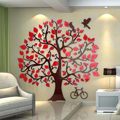 ¡Nueva llegada! Gran Árbol creativo DIY acrílico cristal pared pegatinas sala de estar sofe TV Fondo decoración del hogar