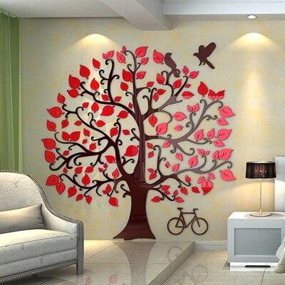 Nuovo arrivo!!! grande Albero Creativo FAI DA TE cristallo Acrilico adesivi murali soggiorno sofe TV sfondo Home decor Decorazione