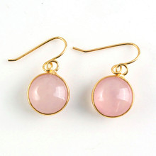 FYJS Light Yellow Gold Color Round Cabochon Natural Rose Pink Quartz Earrings For Female Jewelry