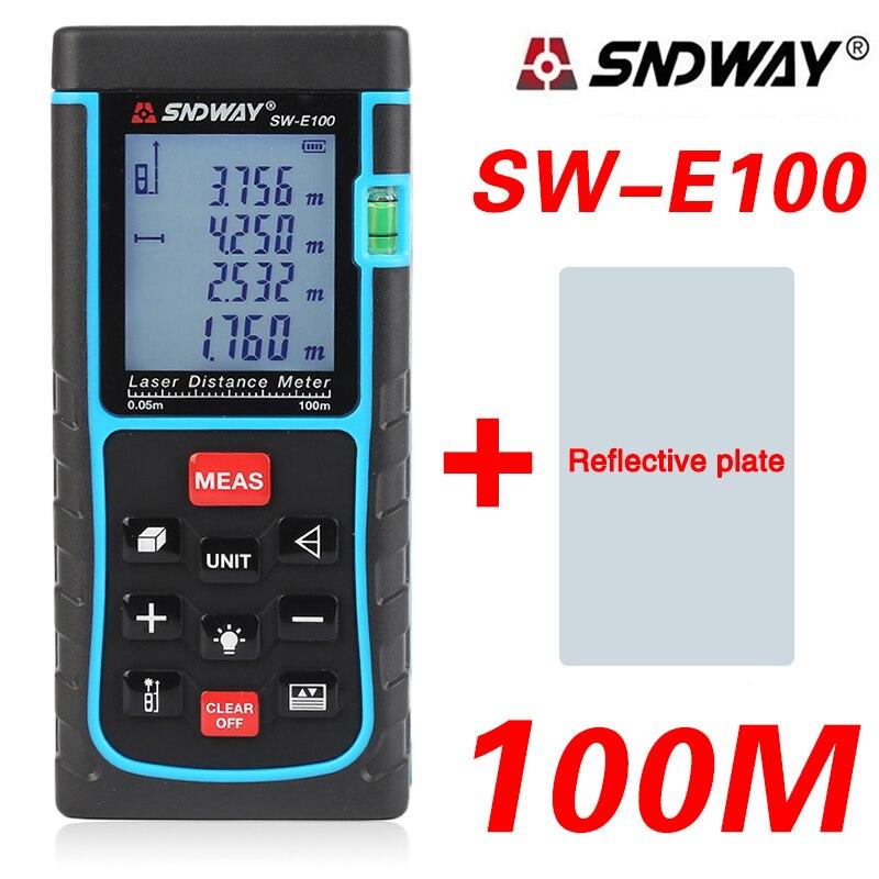 SNDWAY SW E100 100M Digital Laser Distance Meter Laser Rangefinder Range Finder Finder Build Measure Device