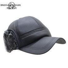 BING YUAN HAO XUAN Winter Mens Baseball Cap Warm Plus Thick Velvet Earflap Hat Black Snapback Dad Casquette