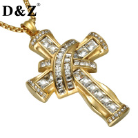 D Z Iced Out Rhinestone Crucifix Pendant Necklace Gold Color Stainless Steel Religious Cross Necklace For
