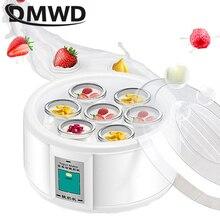 DMWD 1.5L Автоматическая Йогуртница с 7 баночками многофункциональный инструмент DIY нержавеющая сталь лайнер Natto рисовое вино мариновка йогурт машина