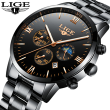 Watches Men Luxury Brand LIGE Chronograph Men Sports black Watches Waterproof Full Steel Quartz Watch Relogio Masculino Clock цена 2017