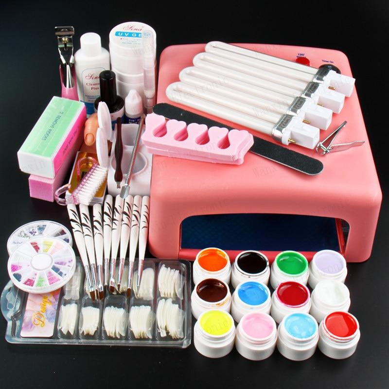 New Pro Nail Art 36W UV GEL Pink Lamp & 12 Color UV Gel Nail Art DIY tips Tool Kits Sets new pro 36w uv gel white and pink lamp & 12 color uv gel nail art tools sets kits u 6