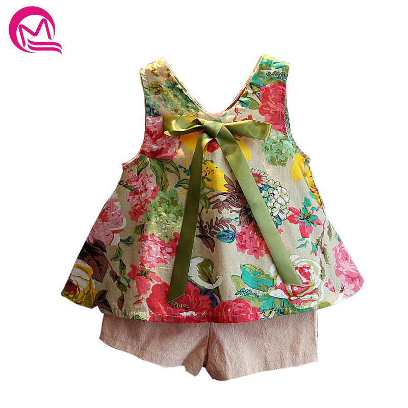 2018 Toddler Girl Summer Clothing Set Floral Rose Vest + Shorts Pink Kids Clothes Girls Shirt Pants Suit Brand Children Clothing flower sleeveless vest t shirt tops vest shorts pants outfit girl clothes set 2pcs baby children girls kids clothing bow knot