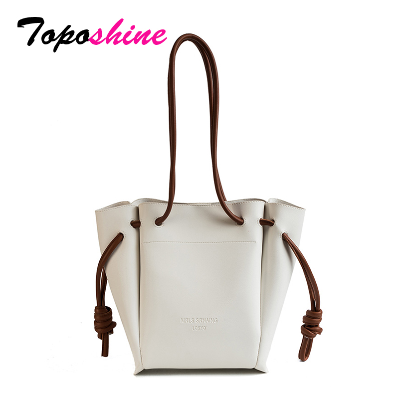 Toposhine Women Casual Tote 2018 Simple PU Leather Women Handbags Large Capacity Shopping Shoulder Bag Fashion Hasp Lady Bags metallic hasp pu leather tote bag