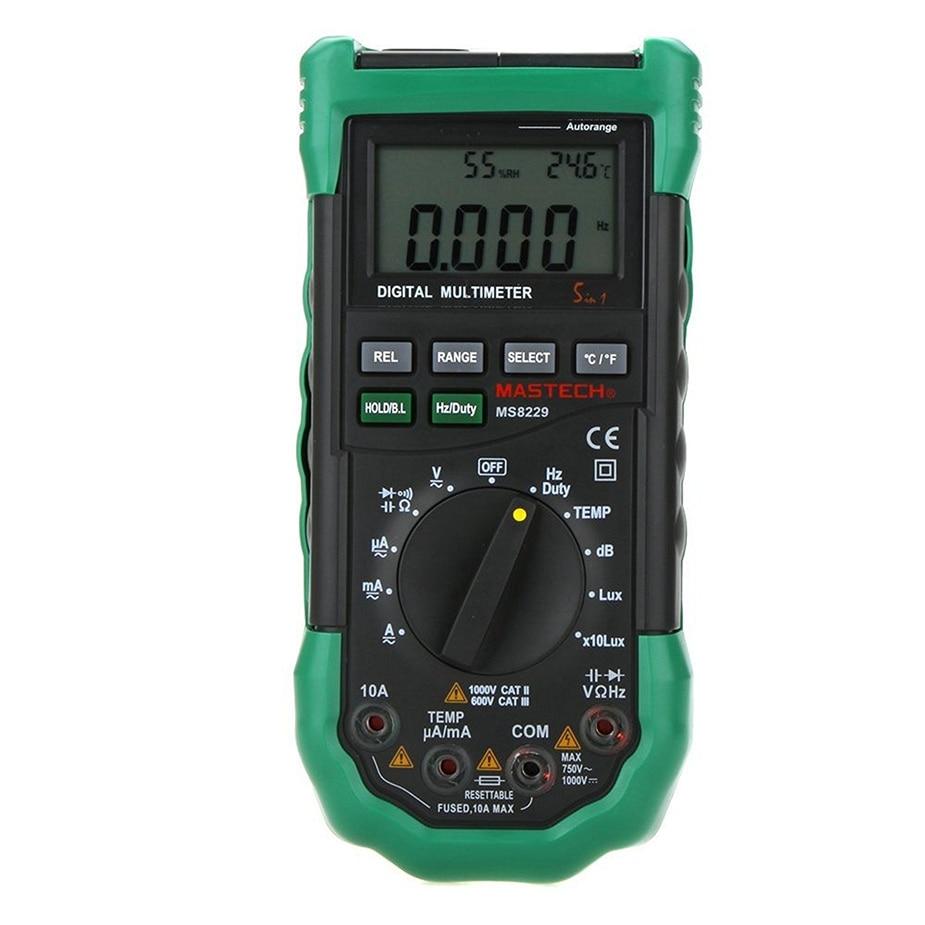 MASTECH MS8229 Digital Multimeter 5 in 1 Noise Illumination Temperature Humidity Tester Diagnostic-tool Auto Range LCD Backlight цена