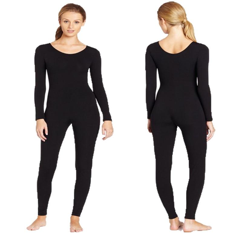 Adult Long Sleeve Dance Unitards Scoop Neck Full Body Suit Spandex Black Unitard Bodysuit Costumes Gymnastics