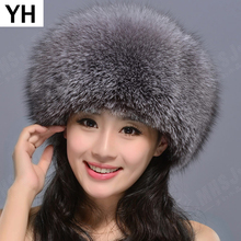 2019 Hot Natural Real Fox Fur Hat Winter Women 100% Real Fox Fur Cap Q