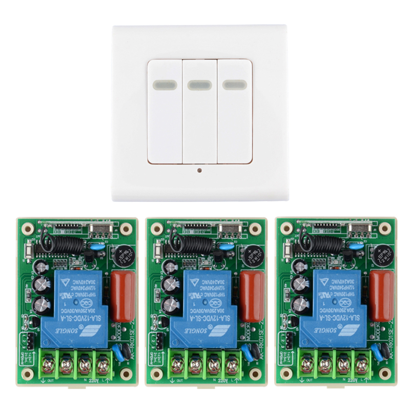ФОТО 220V Remote Switch 30A Relay 3PCS Receiver Wall Panel Transmitter Wireless Light Lamp LED Pump Power Switch Learning Code 315Mhz