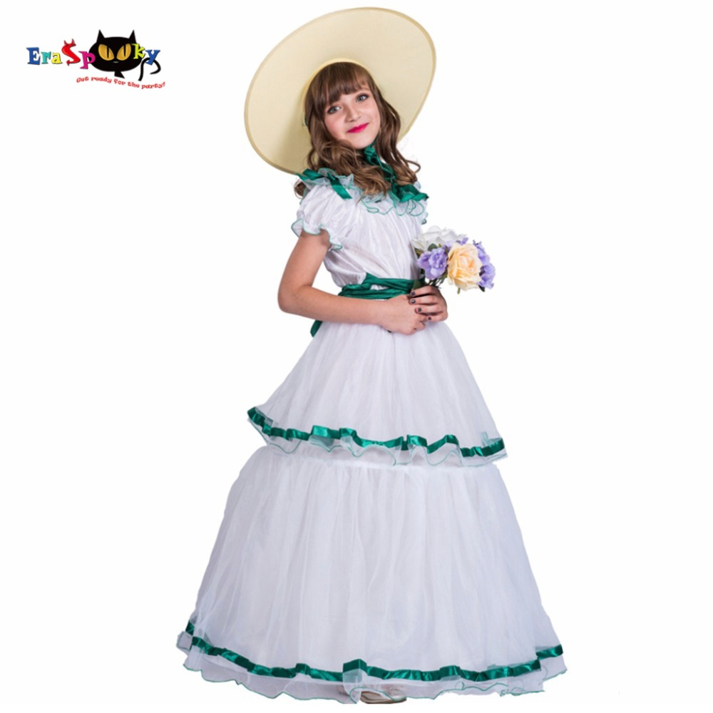 Southern Belle Layer White Princess Dress With Hat 2018 Elegant Long Birthday Party Dresses For Girl Halloween Costume Cosplay