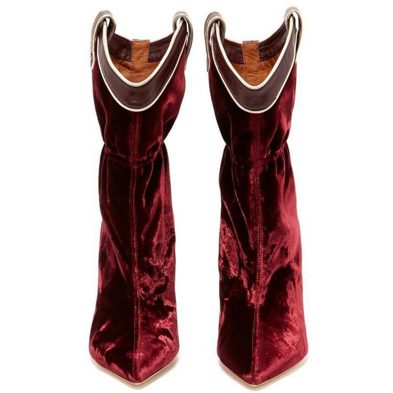 Vino Mujer Grande Testa Disegno Col Punta Tacchi Donna Zapatos Wine Red Scarpe Velluto Marca Stivali A Rosso Alta Sottile Formato Alto Tacco Alti Donne Di N8O0wPmnyv