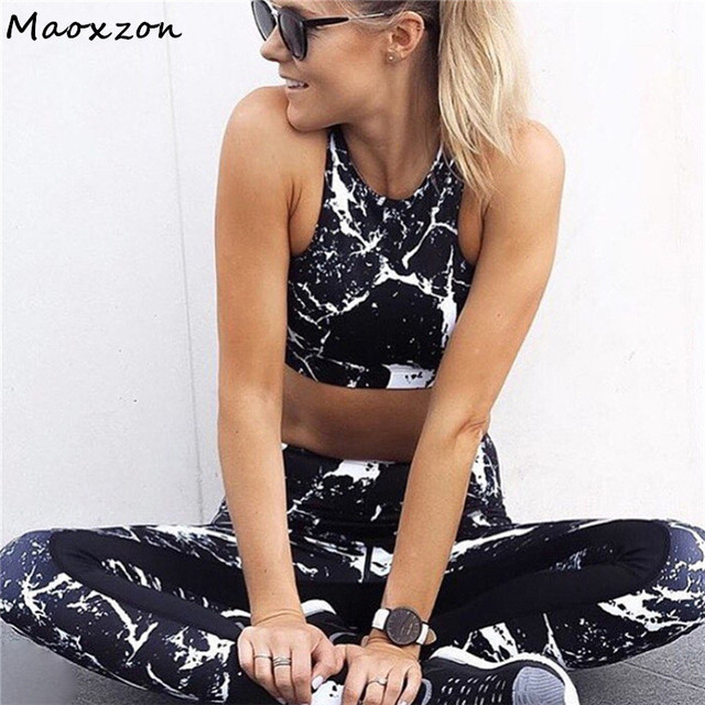 0aa4f34602 Maoxzon Women's Sets Sexy Tracksuits Fitness Active Beauty Slim Tank Tops  and Pants 2 piece Set Wear Thin Print Two piece Suits