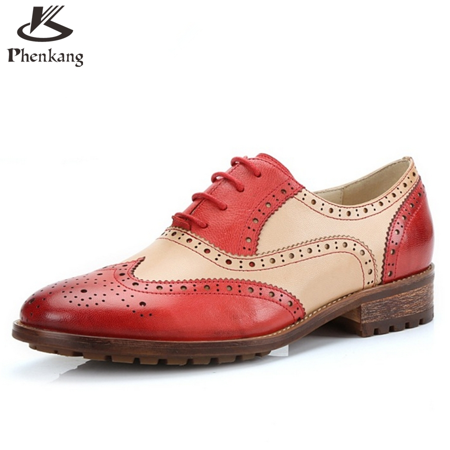 ФОТО Genuine leather flat shoes women size 8 handmade red black blue 2017 vintage round Toe British oxford shoes for women creepers
