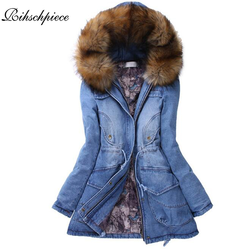 Rihschpiece 2017 Winter Fur Hoodie Parka Women Denim Jacket Long Thick Cotton Padded Coat Jeans Clothes RZF1339 толстовка сноубордическая shweyka fur hoodie turquoise violet