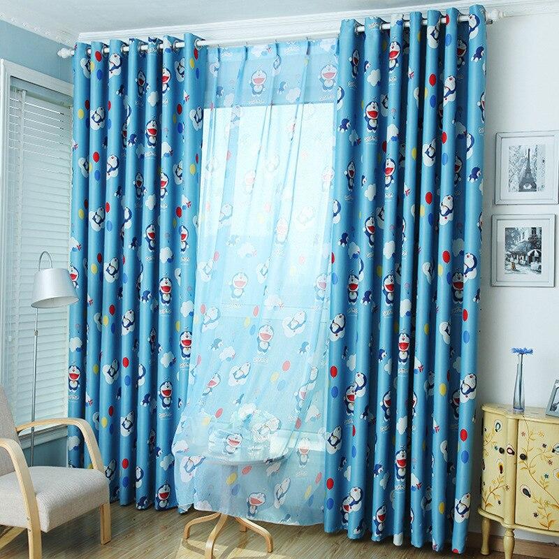 Blue Doraemon Printed Window Screening Voile Gauze Tulle