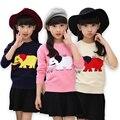 Слон pattern Девушки Свитера детский свитер Мальчики свитер девочки Осень и зима одежды Дети пальто