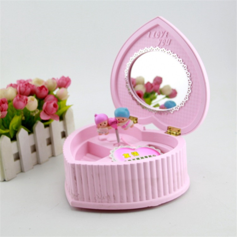 Rotating Couple Music Jewelry Box Creative Music Box Heart Shape Oval Mirror Musical box Birthday Gifts