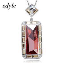 Cdyle Embellished with crystal Sweater Chain Necklace Trendy Bijoux Fashion Jewelry Red AB Color New Gift(China)