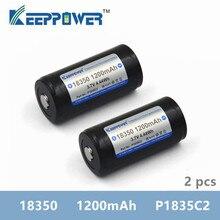 2 Chiếc Keeppower 1200 MAh 18350 P1835C2 Bảo Vệ Pin Sạc Li ion Thả Vận Chuyển Nguyên BATTERIA