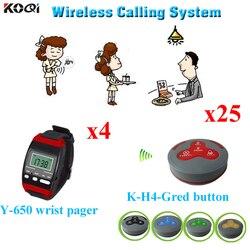 Kelner stronicowania systemu dzwon 4 sztuk inteligentny zegarki W 25 sztuk tabela Buzzer K-H4 100% wodoodporna bezpłatne DHL wysyłka