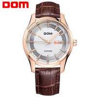 Dom Watch Ultra Thin Waterproof Sheet Vintage Fashion Mens Watch Business Casual Genuine Leather Strap Table