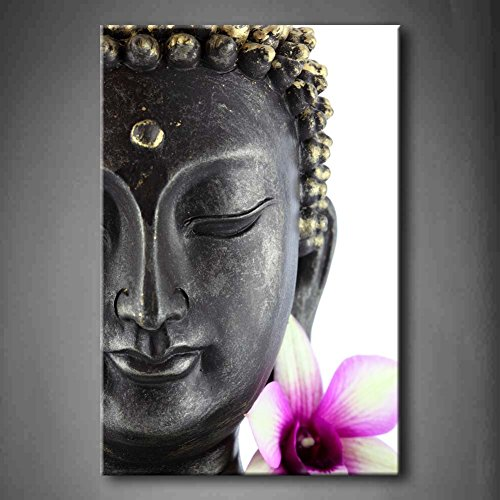 Purple buddha statue with white and purple flower wall art painting pictures print on canvas
