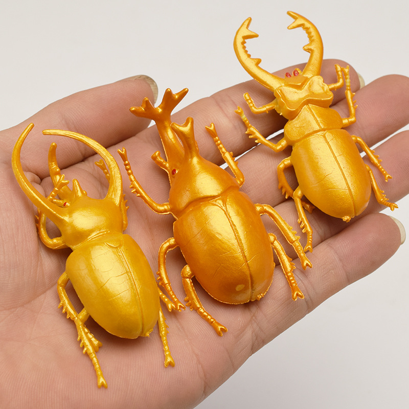5pcs 5.5cm Simulation Beetle Toys Lifelike Model Simulation Insect Toy Nursery Teaching Aids Children's Collection Toy Dress Up