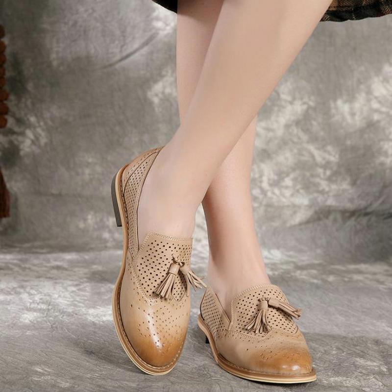 La Plates Chaussures black À Beige Main En Style Mouton De Des Vintage Dames Creusent Peau Pour apricot Cuir Plat Sneaker Femmes Véritable Oxford Collège Dehors qvw0f