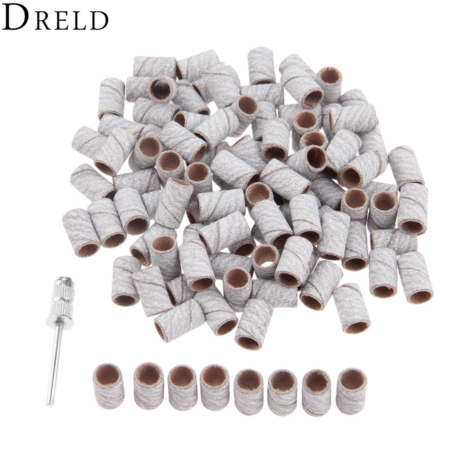 DRELD 100Pcs 6.3mm Drum Sanding Band Nail Drill Bits + 1Pc Band Mandrel 2.35 Shank Polishing For Metals Woods Dremel Accessories