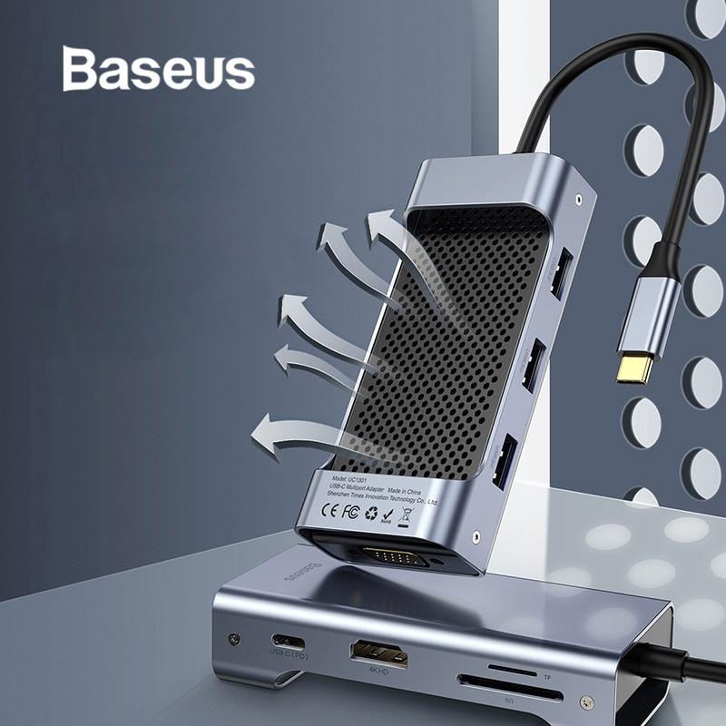 HUB 3.0 de USB C Multi de Baseus avec l'adaptateur de puissance pour Macbook Pro pour le HUB de Type C de Huawei à USB3.0 + HDMI + RJ45/VGA accessoire d'ordinateur