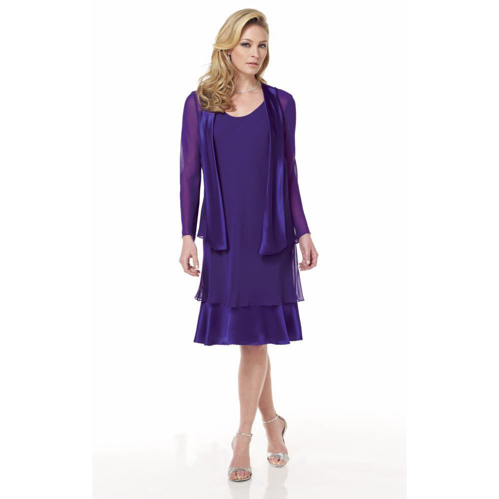 Purple 2017 chiffon cheap knee length mother of the bride for Purple dresses for weddings knee length