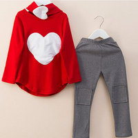 2017 3PCS LOVE SET 1pc Hair Band 1pc Shirts 1pc Pants Children S Clothing Set Girls