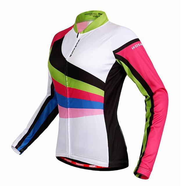 60d7193d3 WOSAWE pro team women long sleeve retro cycling jersey shirt women spring  autumn pink mtb top Jersey