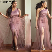 Cinderella One Shoulder Side Slit Floor Length Elastic Satin Mermaid Bridesmaid Dresses With Tulle